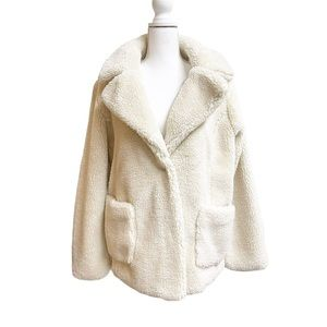 Sebby Cream Pocketed Faux Shearling Teddy Jacket L